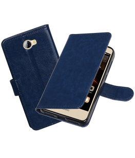 Donker Blauw Portemonnee booktype Hoesje voor Huawei Y5 II / Y6 II Compact