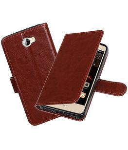 Bruin Portemonnee booktype Hoesje voor Huawei Y5 II / Y6 II Compact