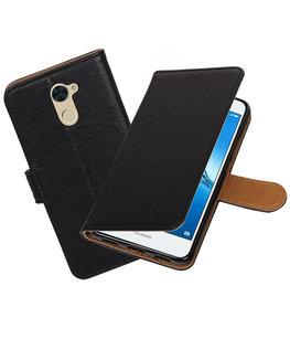 Hoesje voor Huawei Y7 / Y7 Prime Echt Leer Leder booktype Zwart