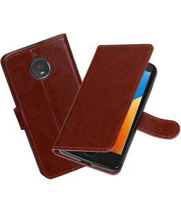 Bruin Portemonnee booktype Hoesje voor Motorola Moto E4