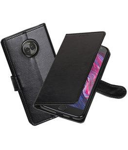 Zwart Portemonnee booktype Hoesje voor Motorola Moto X4