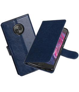 Donker Blauw Portemonnee booktype Hoesje voor Motorola Moto X4