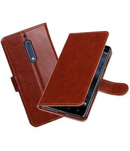 Bruin Portemonnee booktype Hoesje voor Nokia 5