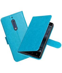 Turquoise Portemonnee booktype Hoesje voor Nokia 5