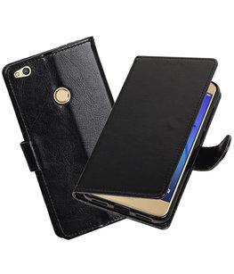 Zwart Portemonnee booktype Hoesje voor Huawei P8 Lite 2017/ P9 Lite 2017