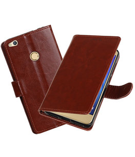 Bruin Portemonnee booktype Hoesje voor Huawei P8 Lite 2017 / P9 Lite 2017