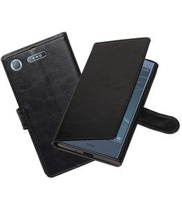 Zwart Portemonnee booktype Hoesje voor Sony Xperia XZ1