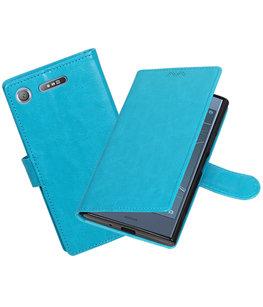 Turquoise Portemonnee booktype Hoesje voor Sony Xperia XZ1