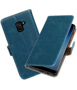 Hoesje voor Samsung Galaxy A8 Plus 2018 Pull-Up booktype blauw