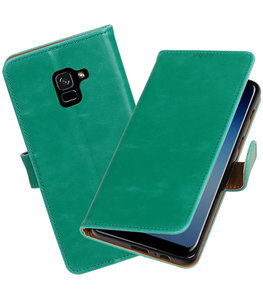 Hoesje voor Samsung Galaxy A8 Plus 2018 Pull-Up booktype groen