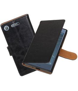 Hoesje voor Sony Xperia XZ1 Pull-Up booktype zwart