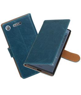 Hoesje voor Sony Xperia XZ1 Pull-Up booktype blauw