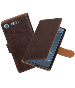 Hoesje voor Sony Xperia XZ1 Pull-Up booktype mocca