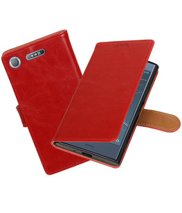 Hoesje voor Sony Xperia XZ1 Pull-Up booktype rood