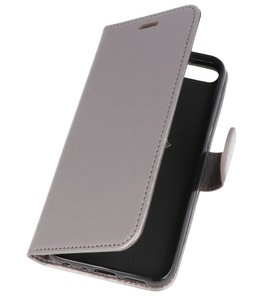 Grijs Wallet Case Hoesje voor Huawei Honor 9 Lite