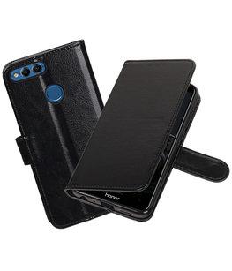 Zwart Portemonnee Wallet Case Hoesje voor Huawei P Smart