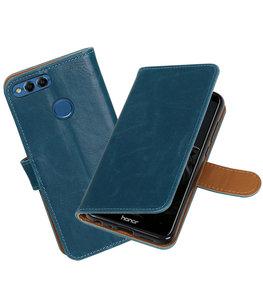 Blauw Pull-Up Wallet Case Hoesje voor Huawei P Smart