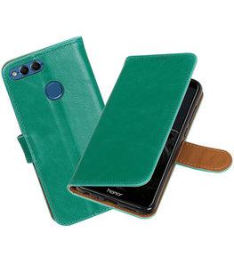 Groen Pull-Up Wallet Case Hoesje voor Huawei P Smart