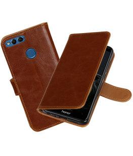Bruin Pull-Up Wallet Case Hoesje voor Huawei P Smart