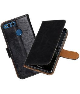 Zwart Pull-Up Wallet Case Hoesje voor Huawei P Smart