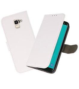 Wit booktype wallet case Hoesje voor Samsung Galaxy J6 2018