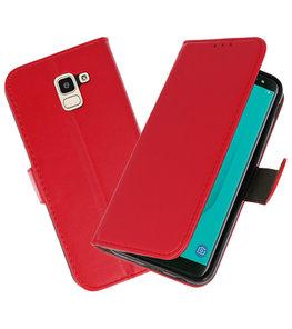 Rood booktype wallet case Hoesje voor Samsung Galaxy J6 2018