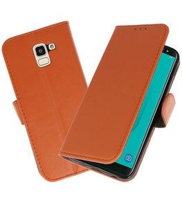 Bruin booktype wallet case Hoesje voor Samsung Galaxy J6 2018
