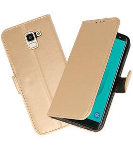 Goud booktype wallet case Hoesje voor Samsung Galaxy J6 2018