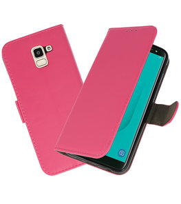 Roze booktype wallet case Hoesje voor Samsung Galaxy J6 2018