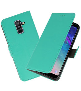 Groen booktype wallet case Hoesje voor Samsung Galaxy A6 Plus 2018