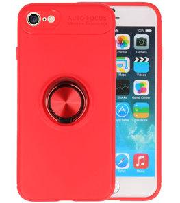 Rood Zacht TPU met Ringhouder hoesje voor Apple iPhone 7 / 8