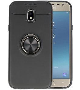 Zwart Zacht TPU met Ringhouder hoesje voor Samsung Galaxy J3 2017