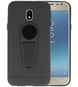 Zwart Magneet Stand Case hoesje voor Samsung Galaxy J3 2017