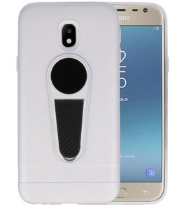 Zilver Magneet Stand Case hoesje voor Samsung Galaxy J3 2017