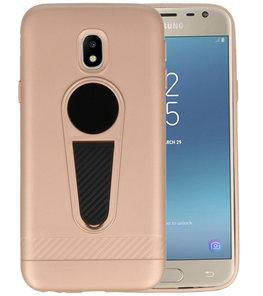 Goud Magneet Stand Case hoesje voor Samsung Galaxy J3 2017