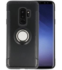 Zwart Pantser TPU met Ringhouder hoesje voor Samsung Galaxy S9 Plus