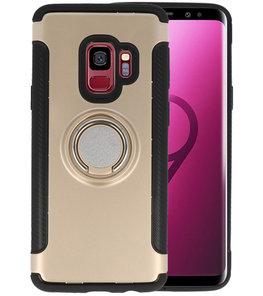 Goud Pantser TPU met Ringhouder hoesje voor Samsung Galaxy S9