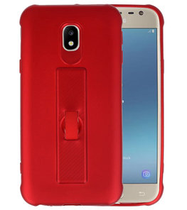 Rood Carbon serie Zacht Case hoesje voor Samsung Galaxy J3 2017