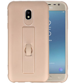 Goud Carbon serie Zacht Case hoesje voor Samsung Galaxy J3 2017