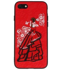 Rood Chinees Borduurwerk TPU back case hoesje voor Apple iPhone 7 / 8
