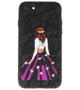 Zwart Chinees Borduurwerk TPU back case hoesje voor Apple iPhone 7 / 8