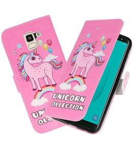 Roze Unicorn booktype wallet case Hoesje voor Samsung Galaxy J8