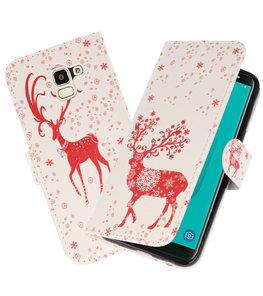 Hert booktype wallet case Hoesje voor Samsung Galaxy J8