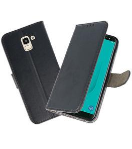 Zwart booktype wallet case Hoesje voor Samsung Galaxy J8