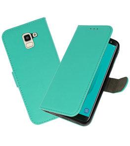Groen booktype wallet case Hoesje voor Samsung Galaxy J8