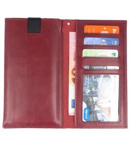 Bordeaux Rood Insteek Wallet Cases Hoesje Universeel tot 5.7 Inch