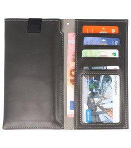 Zwart Insteek Wallet Cases Hoesje Universeel tot 5.7 Inch