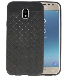 Zwart Geweven TPU case hoesje voor Samsung Galaxy J3 2017