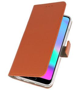 Bruin booktype wallet case Hoesje voor Huawei Honor 10