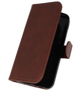 Donker Bruin booktype wallet case Hoesje voor Samsung Galaxy J3 2018